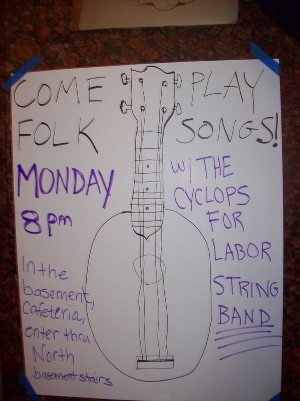 Sign Inviting Musicians to Play with The Cyclops for Labor String Band